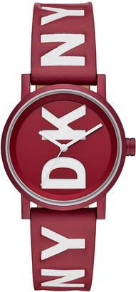 DKNY Women Soho Red Leather Strap Watch 34mm