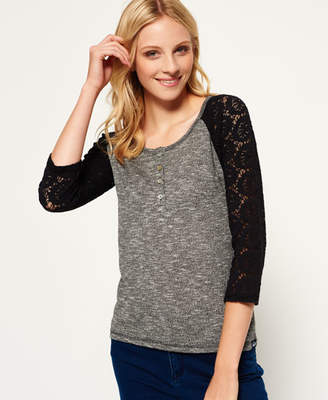 Superdry Slub Twist Jersey Lace Grandad Top