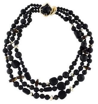 Alexis Bittar Miss Havisham Lava Bead & Onyx Three Strand Necklace