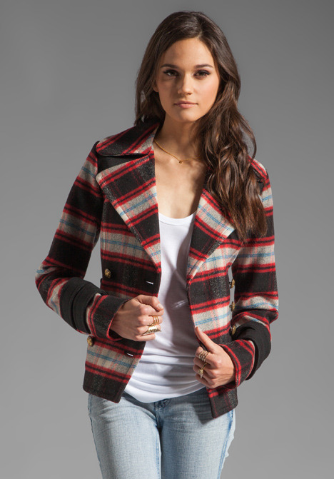 Smythe Pea Coat Jacket in Red/Black Plaid