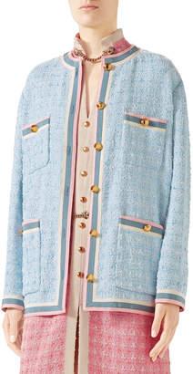 Gucci Stripe-Trim Button-Front Tweed Jacket