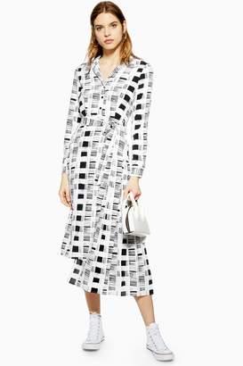 e49a2fa53b Topshop Womens Shadow Check Pleat Step Hem Dress - Monochrome