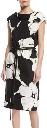 Marc Jacobs Cap-Sleeve Floral-Print Belted Cotton Dress w/ Shoulder Bow