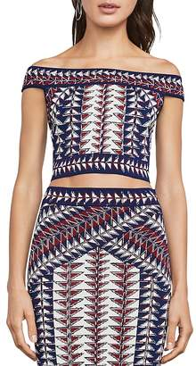 BCBGMAXAZRIA Kayann Off-the-Shoulder Knit Crop Top