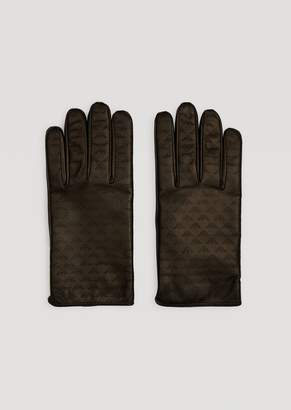 Emporio Armani Leather Gloves With All-Over Logo And Wool Lining