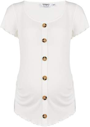 Dorothy Perkins Womens **Maternity Ivory Ribbed Button Top