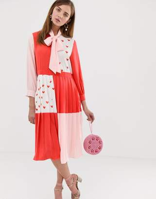 Sister Jane midi dress with pussybow in heart print colour block