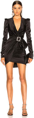 Alexandre Vauthier Stretch Satin Draped Mini Dress in Black | FWRD