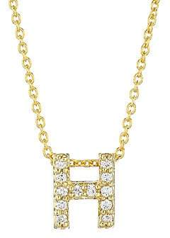 Roberto Coin Women's Tiny Treasures Diamond & 18K Yellow Gold Letter H Pendant Necklace