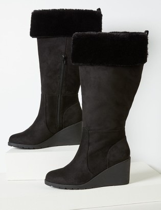 Lane Bryant Faux-Fur Cuff Wedge Boot