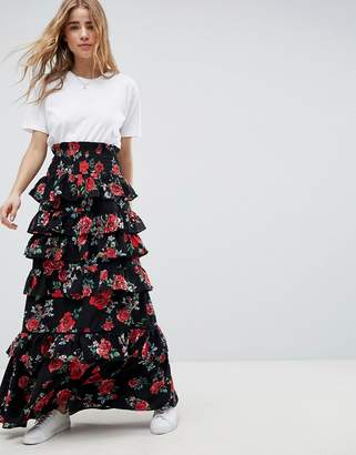 Asos Design Shirred Waist Tiered Maxi Skirt In Rose Floral Print