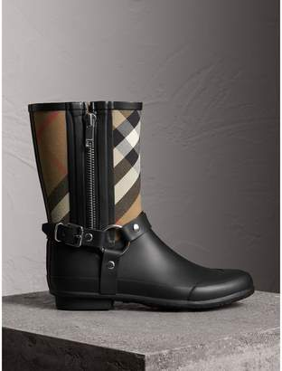 Burberry Buckle and Strap Detail Check Rain Boots
