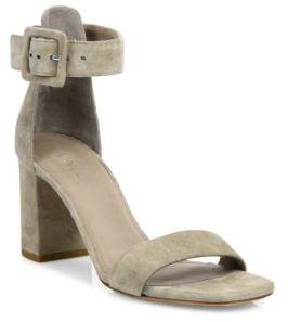 Vince Blake Buckle Suede Block Heel Sandals $325 thestylecure.com