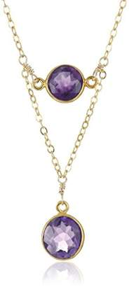 Gold-Plated Sterling Silver Two Amethyst Bezel Pendants On Layered Chain Necklace