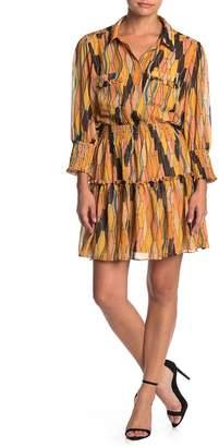 Love Stitch Printed Button Front Mini Dress