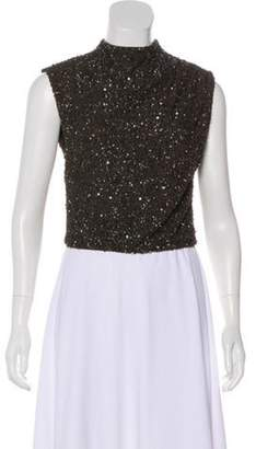 Alice + Olivia Sequined Sleeveless Top Olive Sequined Sleeveless Top