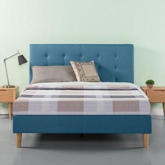 Zinus Blue Upholstered Tufted Platform Bed, Multiple Sizes