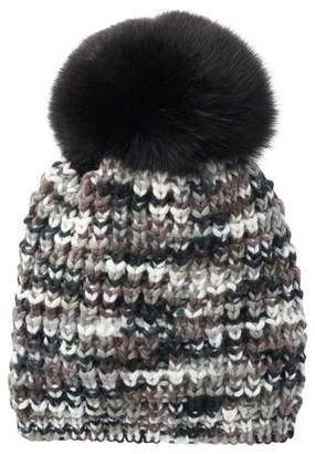 Kyi Kyi Genuine Fox Fur Pompom Colorful Knit Beanie