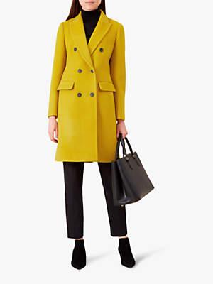 Bhavina Wool Trench Coat, Yellow Ochre