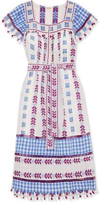 Dodo Bar Or Tasseled Broderie Anglaise Cotton-jacquard And Poplin Midi Dress - Blue