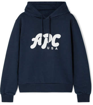 A.P.C. Sally Printed Cotton-blend Jersey Hoodie - Navy