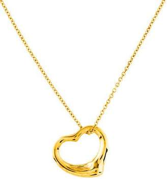 Tiffany & Co. 18K Open Heart Pendant Necklace