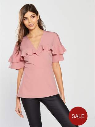 Very Wrapped Frill Sleeves Blouse - Pink