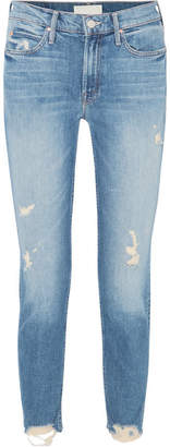 Mother Flirt Fray Distressed Mid-rise Straight-leg Jeans - Mid denim