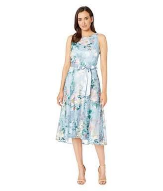 Tahari ASL Embroidered Floral Midi Length Halter Dress