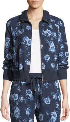 Kate Spade Prairie Rose Zip-Front Ruffle Jacket