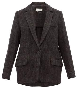 Etoile Isabel Marant Charly Herringbone Tweed Virgin Wool Jacket - Womens - Black