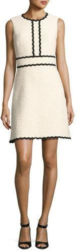 Kate Spade Kate Spade New York Sleeveless Scalloped Tweed Dress, Beige