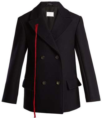 Maison Margiela Peak Lapel Double Breasted Wool Coat - Womens - Navy
