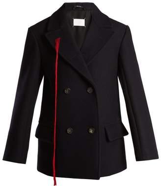 Maison Margiela - Peak Lapel Double Breasted Wool Coat - Womens - Navy