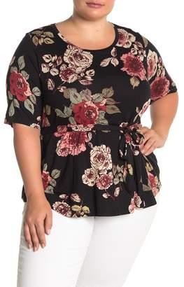 Bobeau Floral Tie Waist T-Shirt (Plus Size)