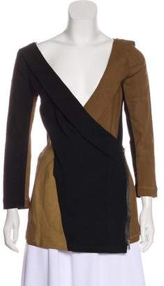 Donna Karan Linen Colorblock Top