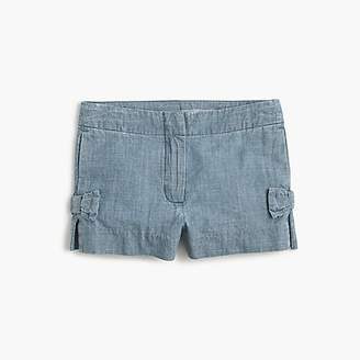J.Crew Girls' bow short in chambray