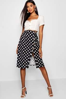 boohoo Polka Dot Split & Mock Horn Button Midi Skirt