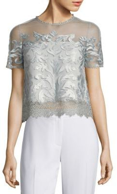 Elie Tahari Noreen Cropped Organza & Lace Top $298 thestylecure.com