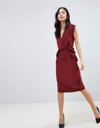 Asos DESIGN Drape Front Midi Pencil Dress