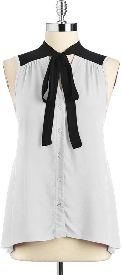 LOVE ADY Colorblock Tie-Neck Blouse