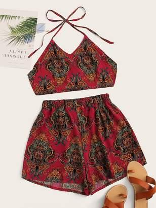 Shein Paisley Print Crop Halter Top & Shorts
