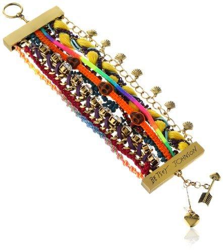 "Betsey Johnson St. Barts"" Skull Bead Multi-Row Toggle Bracelet, 7.5"""