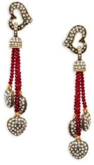 Heidi Daus Crystal Heart Dangle Drop Earrings