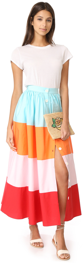 MDS Stripes Colorblock Button Front Skirt 5