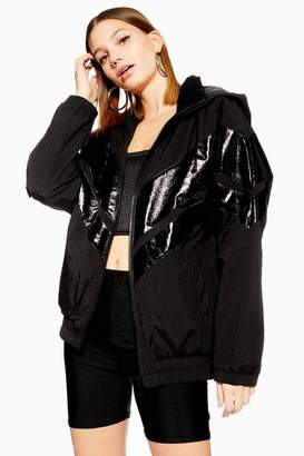 Topshop Black Patent Windbreaker Jacket