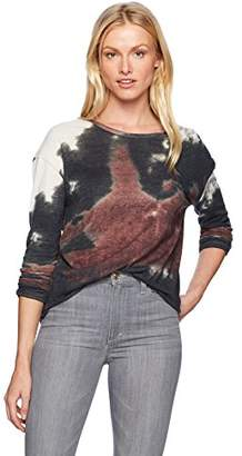 Majestic Filatures Women's Cotton/Cashmere Tie-dye Knit Long Sleeve Crew