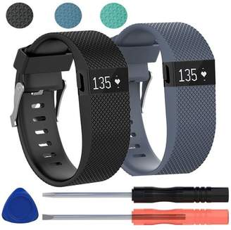Fitbit EEEkit 2-pack Replacement Silicone Band Wrist Strap Bracelet w/Tool for Charge HR Large
