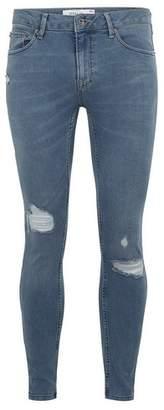 Topman Mens Blue Midwash Spray On Jeans