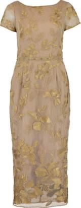 Marchesa Metallic Floral Embroidered Dress